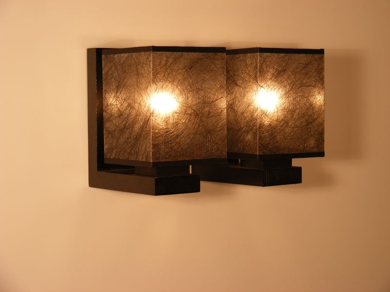 Basari wall sconce two rustiklight basari wall sconce double light with dark fabric lamp shade wenge brown wooden base aloadofball Gallery
