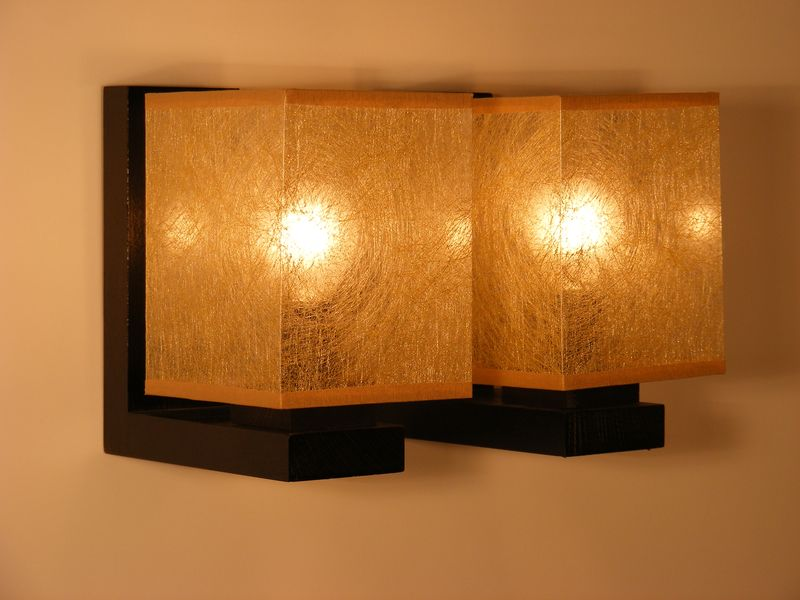 BASARI Wall Sconce Double Lights With Golden Fabric Lamp Shades Wenge Brown Wooden Base