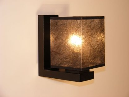 BASARI Wall Sconce One Light With Dark Fabric Lamp Shade Wenge Brown Wooden Base