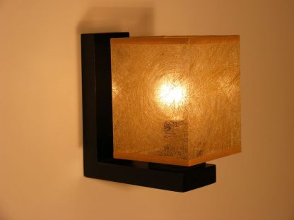 BASARI Wall Sconce One Light With Golden Fabric Lamp Shade Wenge Brown Wooden Base