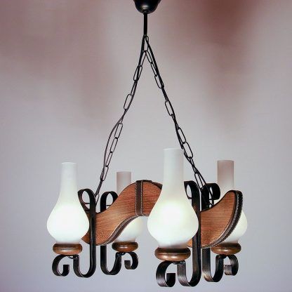 KARINA Chandelier Four Wrought Iron Arms Leather Insert Wooden Frame White Matt Glass Lamp Shades