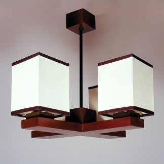 LIDO Chandelier Four Wooden Arms Wenge Brown White Pvc Lamp Shades
