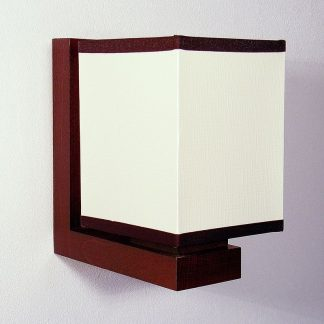 LIDO Wall Sconce One Light Wenge Brown Wood Frame White Pvc Lamp Shade