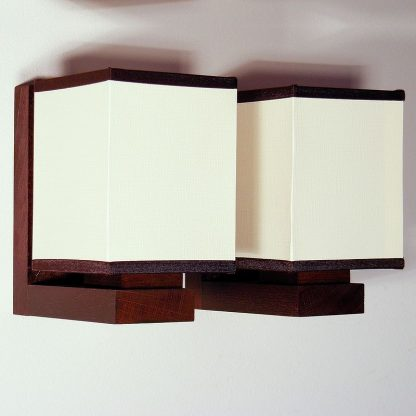 LIDO Wall Sconce Two Lights Wenge Brown Wood Frame White Pvc Lamp Shades