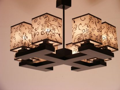 LOMBARDIA Chandelier Eight Lights Four Wooden Arms Wenge Brown Flower Printed Fabric Lamp Shades
