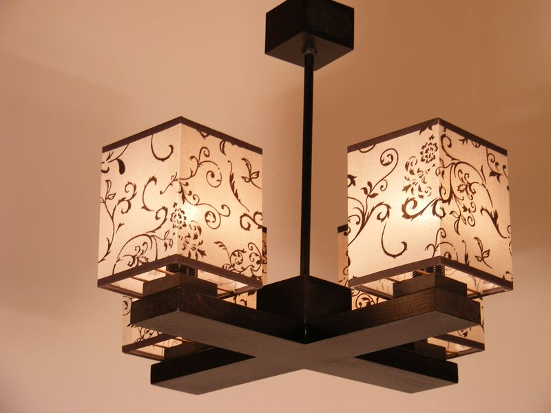 LOMBARDIA Chandelier Four Wooden Arms Wenge Brown Floral Printed Fabric Lamp Shades
