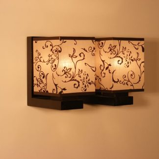 LOMBARDIA Wall Sconce Double Lights Wenge Brown Wooden Frame Flower Printed Fabric Lamp Shade