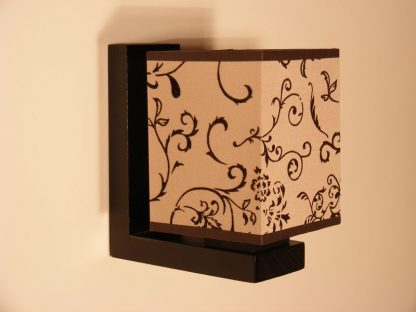 LOMBARDIA Wall Sconce One Light Wenge Brown Wooden Frame Flower Printed Fabric Lamp Shade