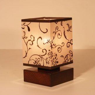 LOMBARDIA table lamp one light brown wenge square wood base and floral fabric lamp shade