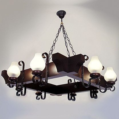 QUEEN Chandelier Eight Square Shape Lights Wenge Brown Solid Wooden Frame Wrought Iron Arms White Matt Glass Lamp Shades