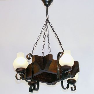 QUEEN Chandelier Four Square Shape Lights Wenge Brown Solid Wooden Frame Wrought Iron Arms White Matt Glass Lamp Shades