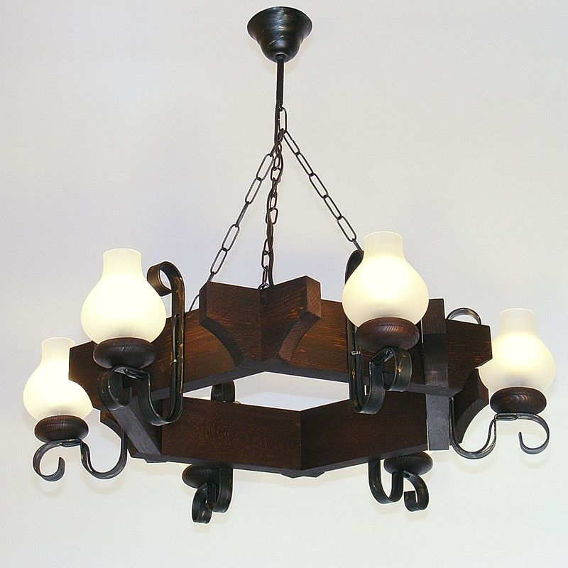 QUEEN Chandelier Six Lights Wenge Brown Solid Wooden Frame Wrought Iron Arms White Matt Glass Lamp Shades