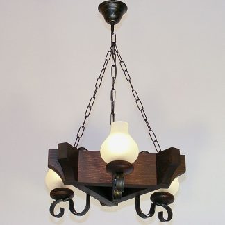 QUEEN Chandelier Three Triangle Shape Lights Wenge Brown Solid Wooden Frame Wrought Iron Arms White Matt Glass Lamp Shades