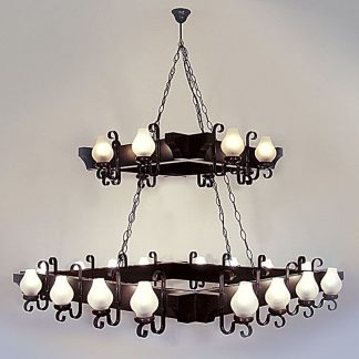 QUEEN Chandelier Twenty Four Lights Wenge Brown Solid Wooden Frame Wrought Iron Arms White Matt Glass Lamp Shades