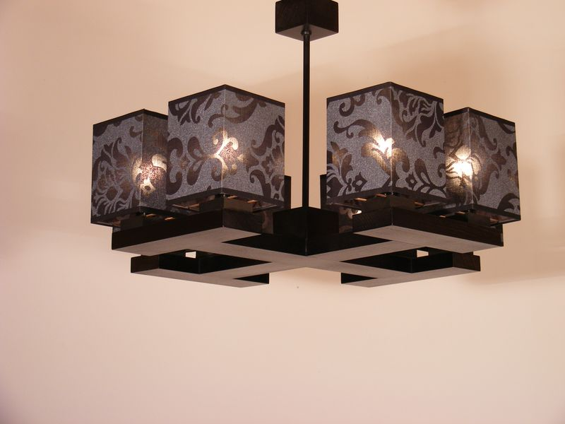 ROYAL Black Chandelier Eight Lights Wenge Brown Wooden Frame Dark Printed Fabric Lamp Shades