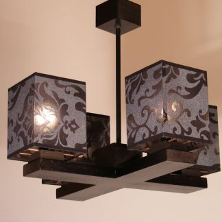 ROYAL Black Chandelier Four Arm Lights Wenge Brown Wooden Frame Dark Printed Fabric Lamp Shades