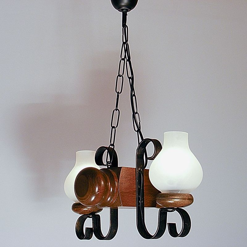 RUSTIK Chandelier Walnut Wood Frame Two Wrought Iron Arms