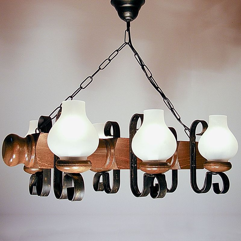 RUSTIK Chandelier Walnut Wood Structure Six Wrought Iron Arms White Matt Lamp Shades