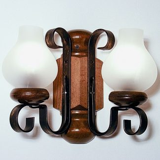 RUSTIK Wall Sconce Lights Walnut Wood Frame Two Wrought Iron Arms White Matt Lamp Shades