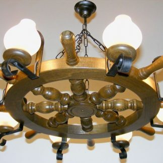 TIMONA Chandelier Eight Wrought Iron Arms Round Shape Antique Wood Frame