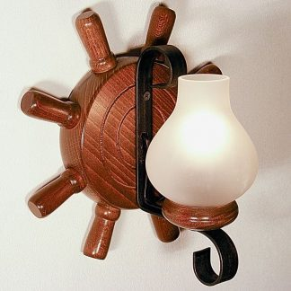 TIMONA Wall Sconce One Light Round Shape Walnut Wood Frame Wrought Iron White Matt Glass Lamp Shades