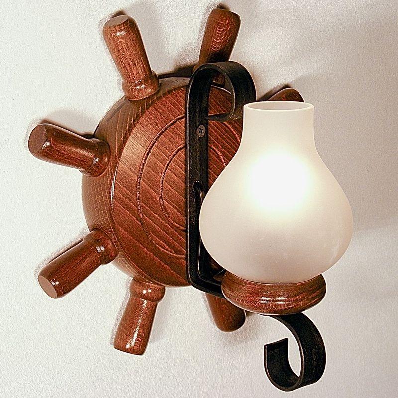 TIMONA Wall Sconce One Light Round Shape Walnut Wood Frame Wrought Iron White Matt Glass Lamp Shades