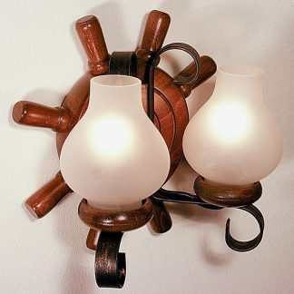 TIMONA Wall Sconce Two Lights Round Shape Walnut Wood Frame Wrought Iron White Matt Glass Lamp Shades