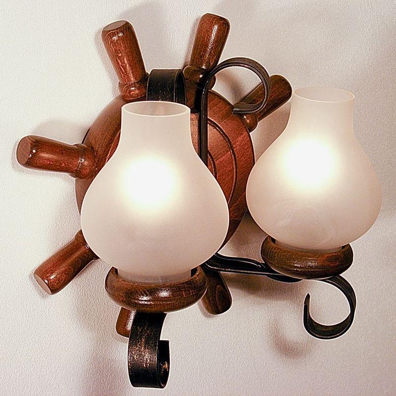TIMONA Wall Sconce Two Lights Round Shape Walnut Wood Frame Wrought Iron White Matt Glass Lamp Shades
