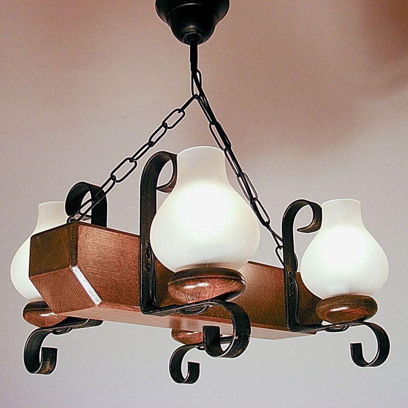 TRAPEZ Chandelier Four Arms Walnut Wood Frame Wrought Iron Matt Glass Lamp Shade
