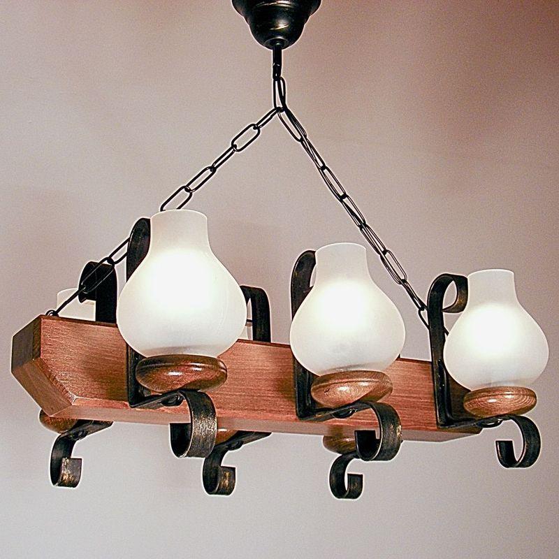 TRAPEZ Chandelier Six Arms Walnut Wood Frame Wrought Iron Matt Glass Lamp Shade
