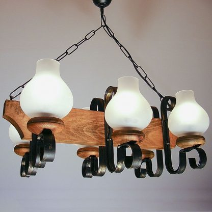 VELA Chandelier Six Wrought Iron Arms Matt Glass Lamp Shade Natural Wood Frame
