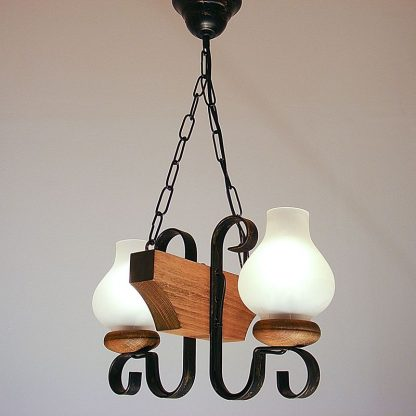 VELA Chandelier Two Wrought Iron Arms White Matt Glass Lamp Shade Natural Wood Frame
