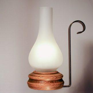 VELA table lamp wood base wrought iron arm and matt glass lampshade