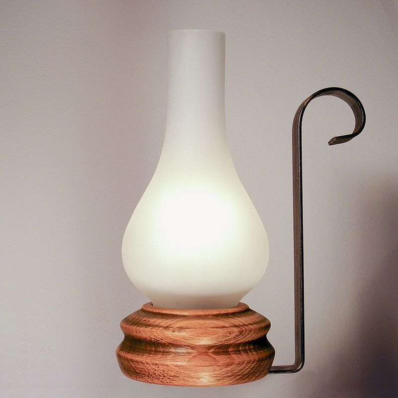 VELA table lamp wood base wrought iron arm and matt glass lampshade