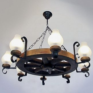 WHEEL Chandelier Eight Arms Natural Wood With 8 Glass Lampshades And Wrought Iron Frame