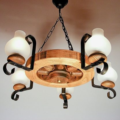 WHEEL Chandelier Round Shape Five Wrought Iron Arms White Matt Glass Lamp Shades Antique Wood Frame
