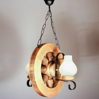 WHEEL Chandelier Round Shape Vertical Placement Two Wrought Iron Arms White Matt Glass Lamp Shades Antique Wood Frame
