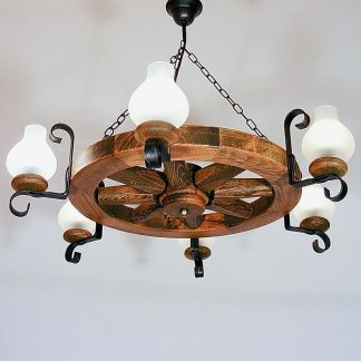 WHEEL Chandelier Six Wrought Iron Arms White Matt Glass Lamp Shades Antique Wood Frame Round Shape