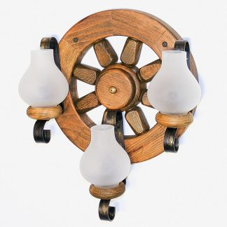 WHEEL Wall Sconce Lights Round Shape Three Wrought Iron Arms White Matt Glass Lamp Shades Antique Wood Frame