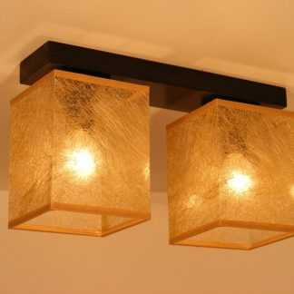 BASARI ceiling lights wenge brown wood base and two golden fabric lamp shades